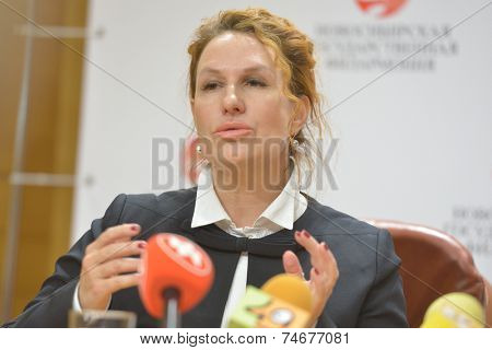NOVOSIBIRSK, RUSSIA - OCTOBER 23, 2014: Deputy General Director of the Philharmonic on international relations Alena Bolkvadze on the press conference in honor of opening Sib Jazz Fest