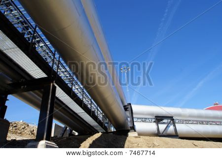 Pipes, Tubes, Smokestack At A Power Plant