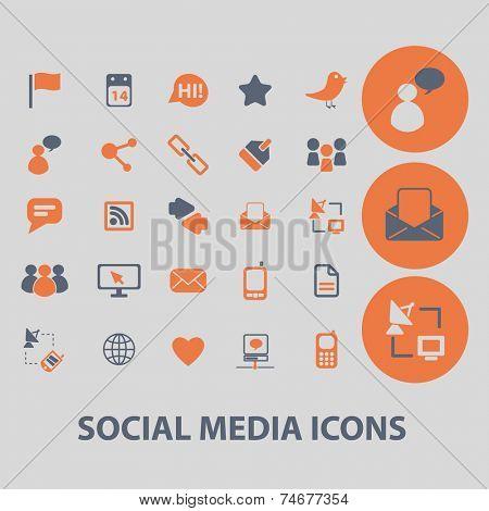 social media, blog, community icons, signs, illustrations, vector, set