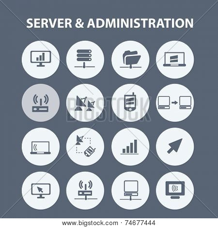 server, administration icons, signs, illustrations set, vector