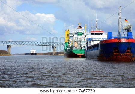 ship with cargo on the Kiel Canal, Germany