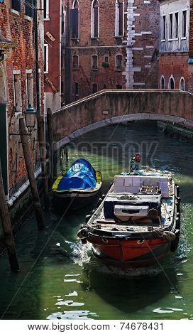 Motorboat On A Small Venetian Canal