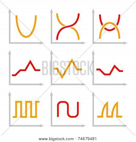 Set of Different Oscilloscope Electric Signal Graph. Vector