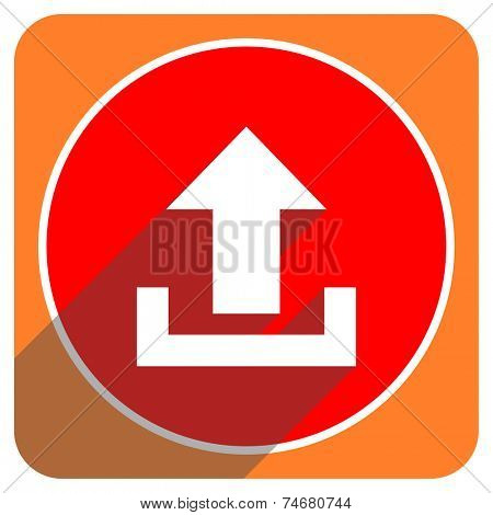 upload red flat icon isolated