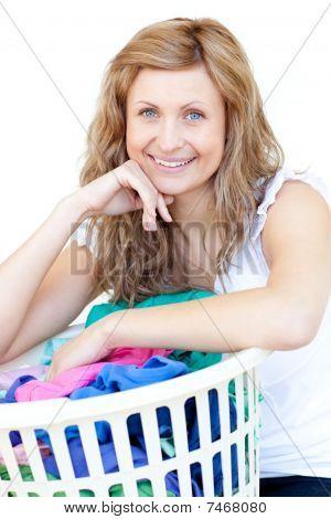 Happy Woman Doing Laundry