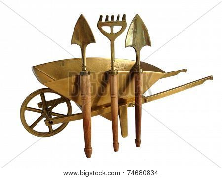 Brass Wheelbarrow And Garden Tools