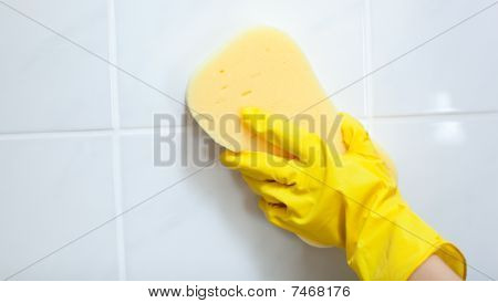 Close-up Of A Woman Cleaning A Bathroom
