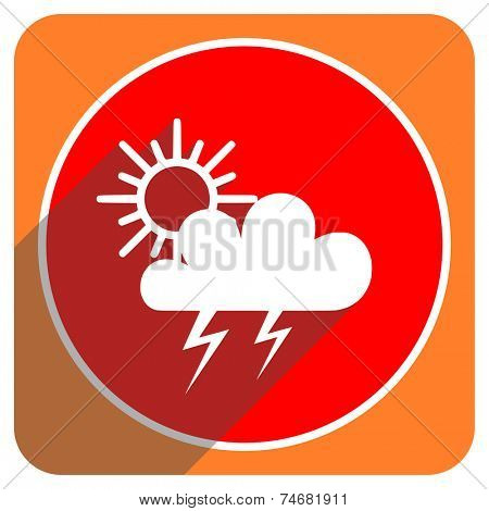 storm red flat icon isolated