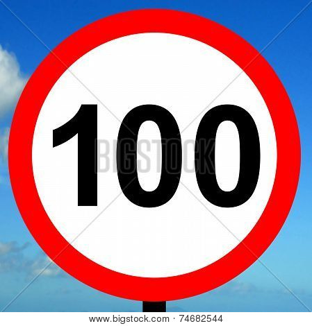 100 kpm speed limit road traffic sign.
