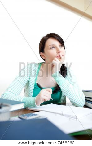 Beautiful Teen Girl Studying At Her Desk