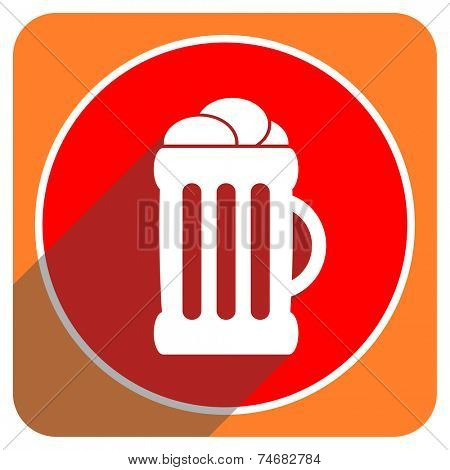 beer red flat icon isolated