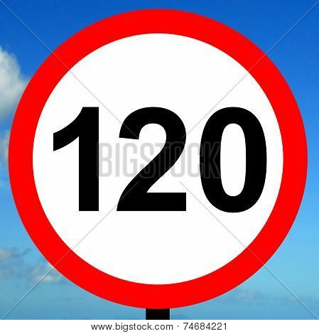 120 kpm speed limit road traffic sign.