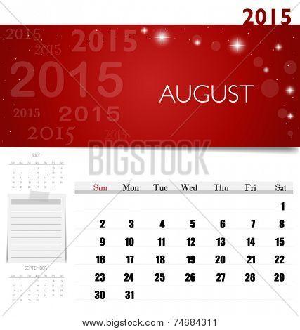 2015 calendar, monthly calendar template for August. Vector illustration.