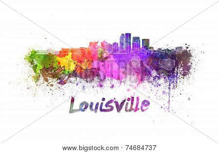 Louisville Skyline In Watercolor