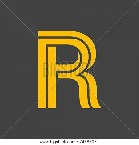 Letter R vector alphabet impossible shape.  ABC concept type as logo. Typography design