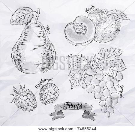 Fruit Pear, Peach, Raspberry, Grape Vintage