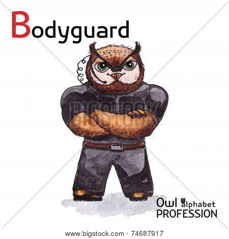 Alphabet professions Owl Letter B - Bodyguard Vector Watercolor.
