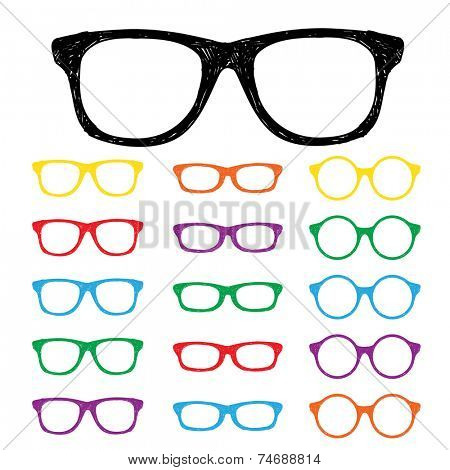 Eye glasses Hand drawn color set
