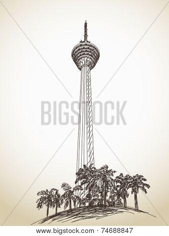 KL tower Menara in Kuala Lumpur, Malaysia. Hand drawn vector illustration - 27 october, 2014