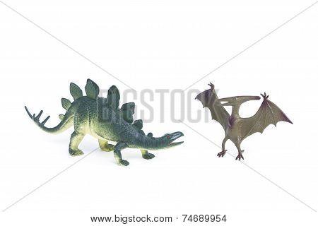 Pterosaur and Stegosaurus dinosaur toys