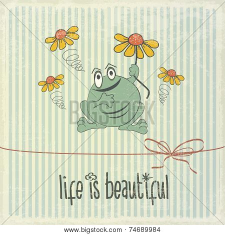 Retro Illustration With Happy Frog And Phrase