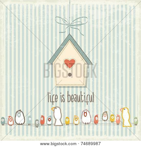 Retro Illustration With Happy  Birds  And Phrase