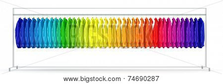 Panorama of clothes rail with many shirts sorted in rainbow colors (3D Rendering)