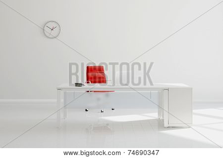 Modern white office with desk in front of wall with clock (3D Rendering)
