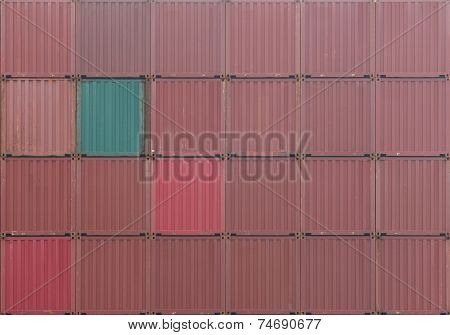 Stack of red Container cargo shipping at container dockyard