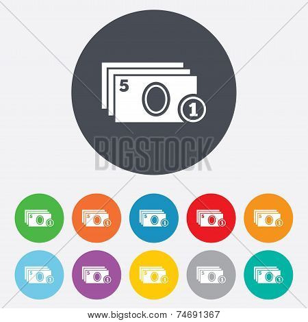 Cash and coin sign icon. Paper money symbol.