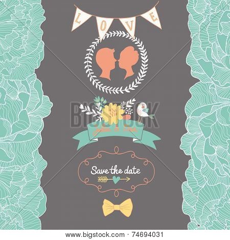 Gentle Save the Date card in bright colors with cute bird and flowers. Stylish romantic wallpaper ideal for wedding designs. Vintage wedding background in vector