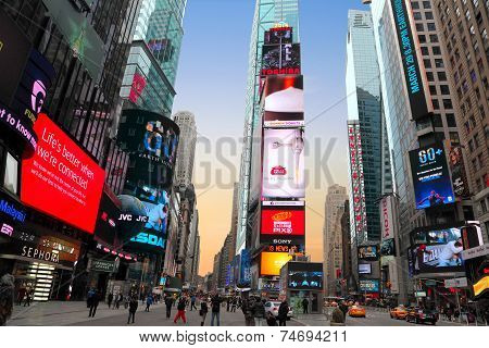 Sunset at Times Square in New York City