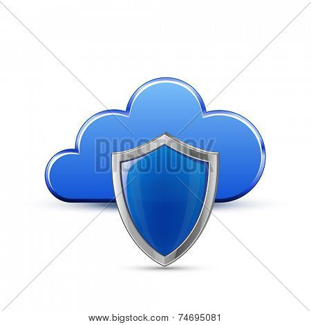 Protected cloud service concept. Cloud and shield. Vector Illustration of protected cloud network