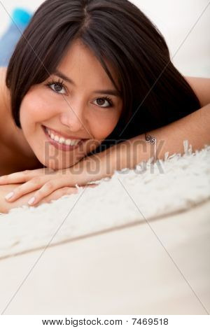 Beautiful Woman Lying On The Floor