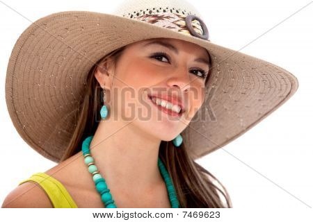 Summer Woman With A Hat