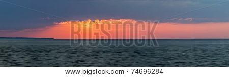Panoramic sunset with red dramatic  sky over Atlantic Ocean in Prince Edward Island, Canada