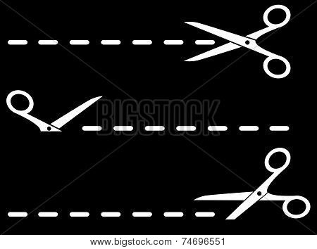 Isolated Scissors With Dotted Line On Black Background