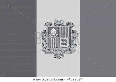 Illustrated Grayscale Flag Of The Country Of Andorra