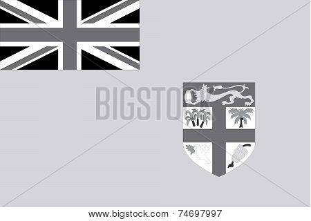 Illustrated Grayscale Flag Of The Country Of Fiji