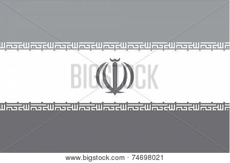 Illustrated Grayscale Flag Of The Country Of Iran