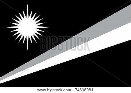 Illustrated Grayscale Flag Of The Country Of Marshallislands