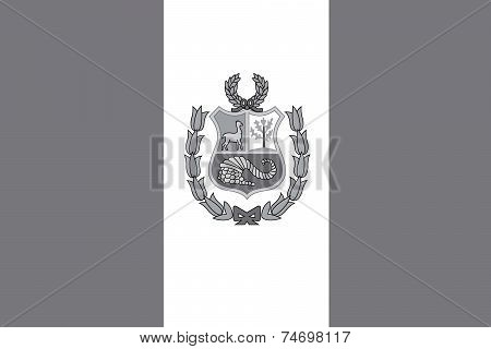 Illustrated Grayscale Flag Of The Country Of Peru