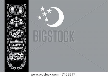 Illustrated Grayscale Flag Of The Country Of Turkmenistan