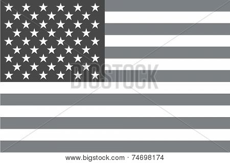 Illustrated Grayscale Flag Of The Country Of United States Of America