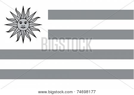 Illustrated Grayscale Flag Of The Country Of Uruguay