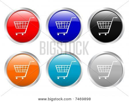 Glossy Buttons Shopping Cart