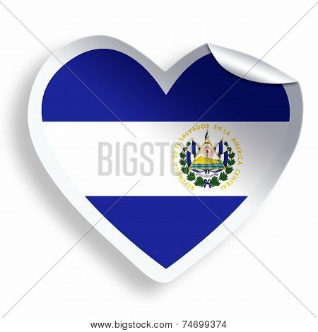 Heart Sticker With Flag Of El Salvador Isolated On White