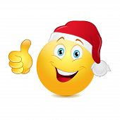 pic of emoticons  - Christmas emoticon with thumb up on a white background - JPG