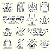 stock photo of wigwams  - Set of retro vintage badges graphics design for t - JPG