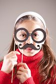pic of girlie  - little girlie plays  professor or scientist with moustaches and glasses - JPG